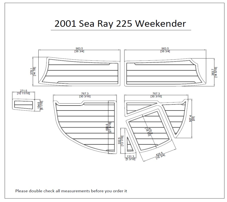 "2001 Sea Ray 225 Weekender Swim Platform Pad 1/4"" 6mm Boat"