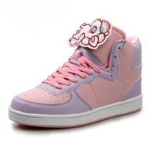 Mujeres de la muchacha de imitación de cuero Entrenadores Walking Deporte de Alta Superior Zapatos Harajuku Lolita Kawaii botines skate zapatos más el tamaño 40