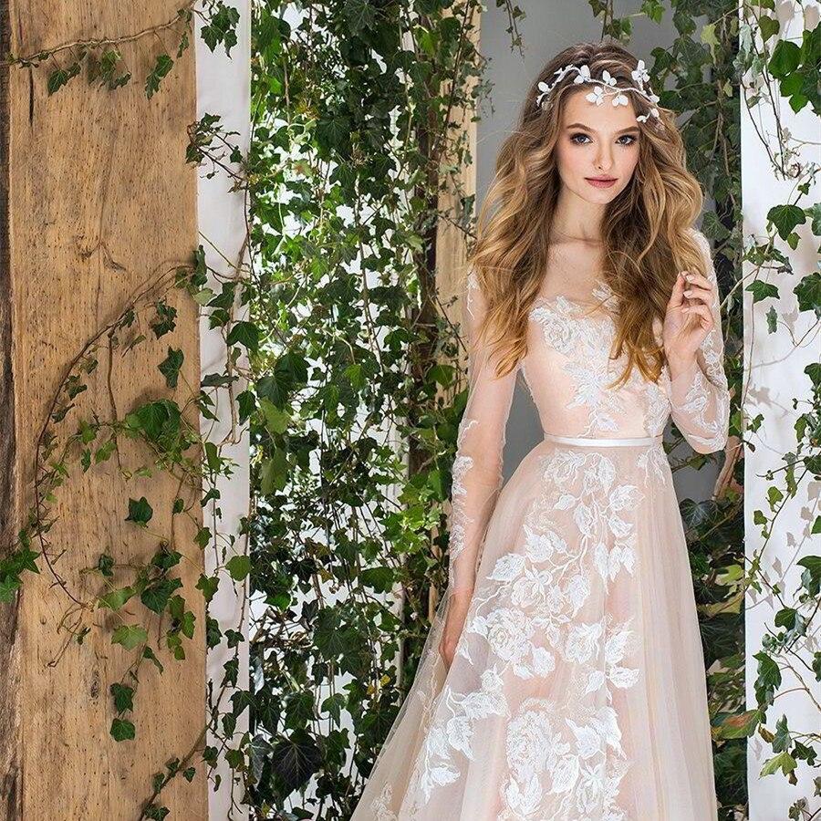 Doux Tulle fleurs Applique haut décolleté a-ligne robe de mariée avec noeud ceinture dos balayage Train manches longues robe de mariée