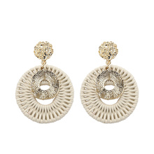 Gold Color Wicker Drop Earrings For Women Handmade Round Hammered Rope Woven Earring Statement Earing pendientes Jewelry