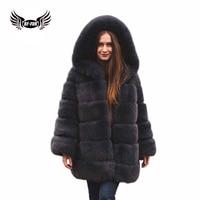 BFFUR Real Fur Coat Luxury New Fox Fur Coat Thicken Women's Warm With Hood Long Parkas Outerwear Customized Women Fur Vest