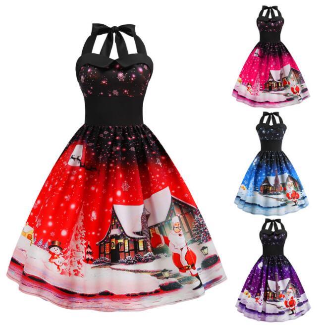 2018 new s-2xl   Women Christmas Dress  Halter Santa Christmas Vintage Swing Flare Dress Retro 50s Xmas Rockabilly