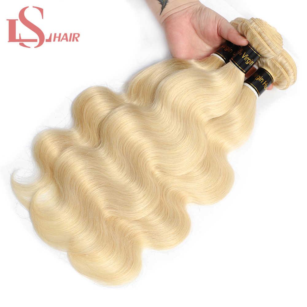 LS Cabello 100% brasileño remy cabello humano 613 platino Rubio onda del cuerpo 3 paquetes y encaje frontal 13x4 extensiones de cabello de onda corporal