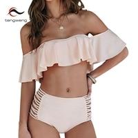 Tengweng 2018 Nueva sexy Bandeau de La Colmena Más El tamaño de trajes de Baño de cintura Alta Mujeres Bikini Brasileño Barato Del Traje de Baño traje de Baño Femenino
