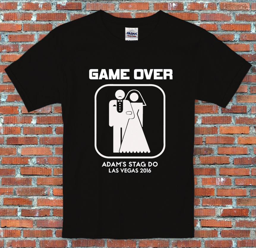 Stag Do Game Over Marriage Personalised Text Funny Black T Shirt S-2XL