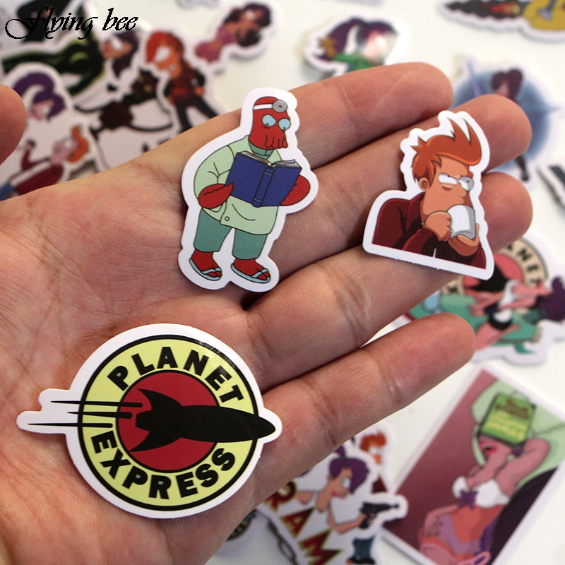 Image 5 - Flyingbee 67 pcs Futurama Sticker Anime Stickers for kids DIY Luggage Laptop Skateboard Car Motorcycle Bicycle Stickers X0007-in Stickers from Consumer Electronics