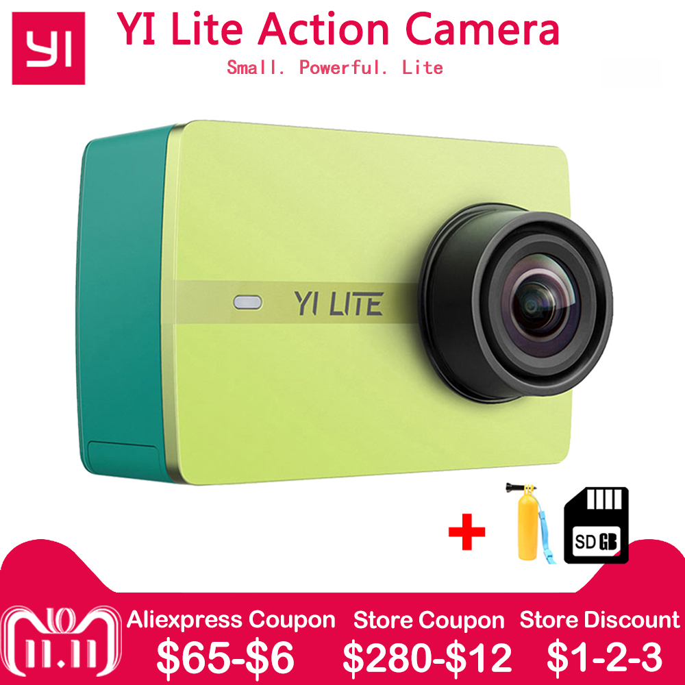 Xiaomi 1080 P YI Lite действие Камера реального Спортивная камера 4k со встроенным WI-FI 2 дюймов ЖК-дисплей Экран 150 градусов Широкий формат объектива