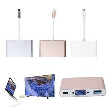 USB-C 3.1 Tipo C para VGA y USB OTG y USB-C Hembra Adaptador de Cargador para el MacBook 12″