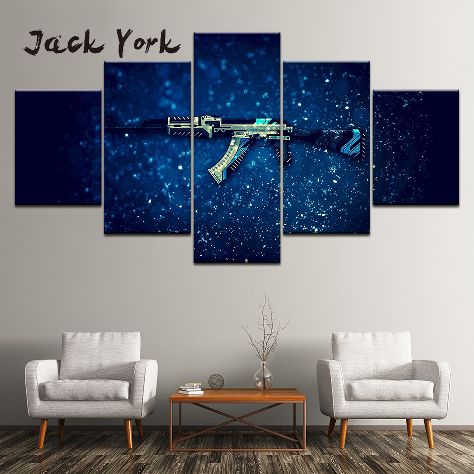Canvas Painting Gaming gun with blue background 5 Pieces Wall Art Painting Modular Wallpapers Poster Print Home Decor 1