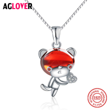 Hot Selling 925 Sterling Silver Cute Animal Bear Cartoon Pendant Necklaces Chain for Women Girl Authentic Fine Jewelry Gift