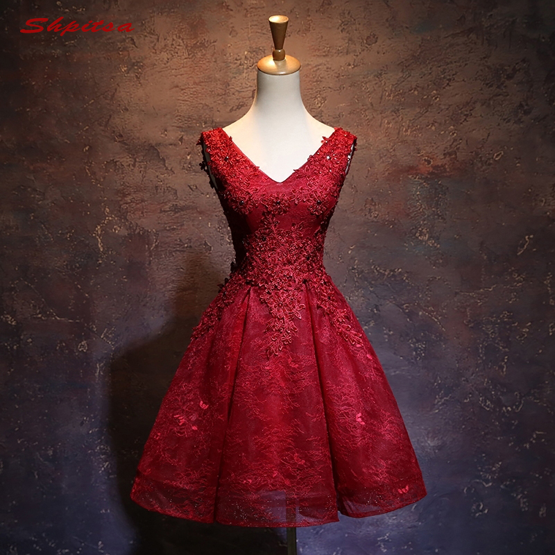 Sexy Red Short Lace Cocktail Dresses Womens Prom Coctail Dress for Party Homecoming Dresses jurk vestidos de coctel renda