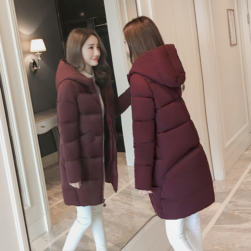 Maternity clothes down jacket winter clothes in the long hooded maternity jacket cocoon-style fashion was a thin coat 2017 winter down jacket male korean version of self cultivation hooded thick in the long fashion trend of youth style downjacket