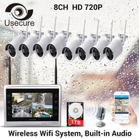 USECURE8CH CCTV System Wireless 720P 12 Inch NVR Security Camera System8PCS 1MP IR Outdoor P2P Wifi