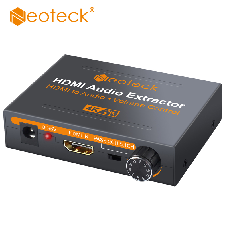 цена Neoteck HDMI Audio Extractor With 3.5mm Stereo Audio Extractor Support 4K x 2K HDMI to HDMI SPDIF RCA 3.5mm Converter Adapter в интернет-магазинах