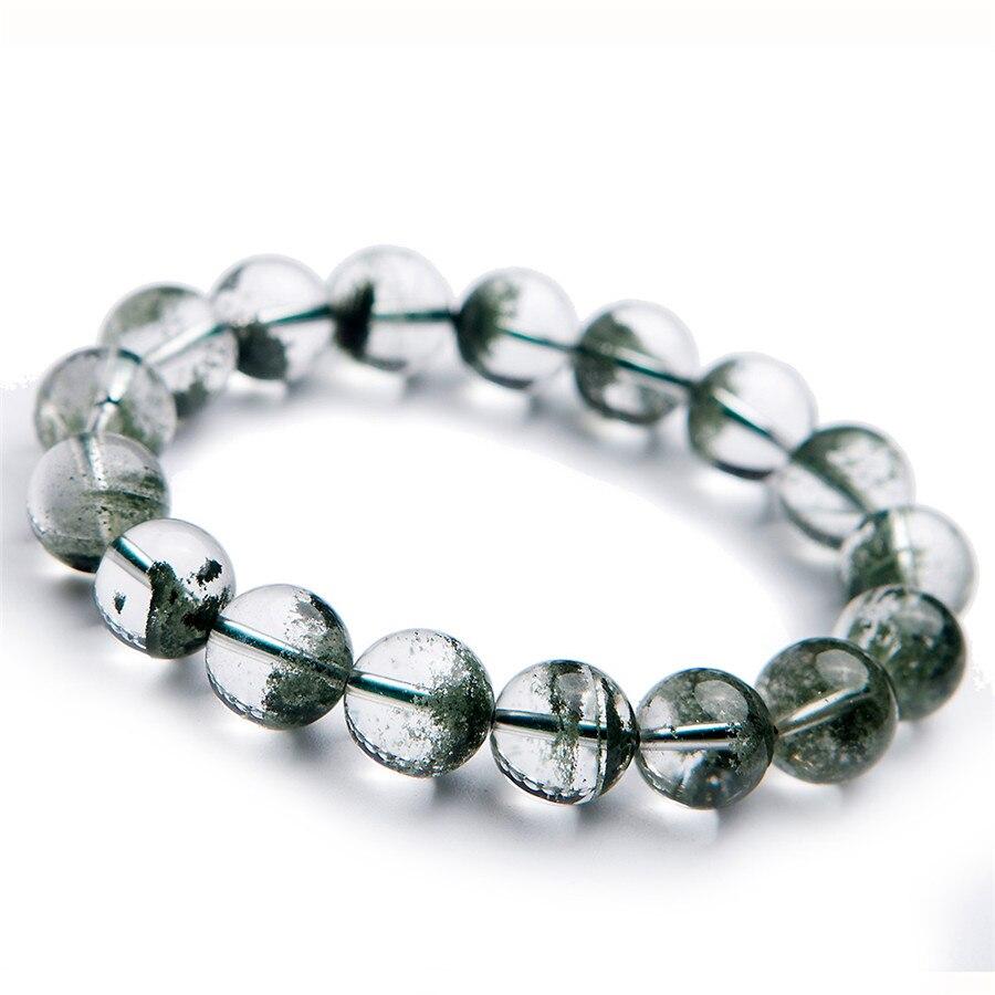 Livraison gratuite naturel 12mm vert fantôme Bracelets vert profond perles rondes Bracelet chanceux énergie pierre vert fantôme Quartz cristal