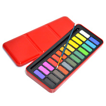 24 Colors Pigment Paints Set Solid Watercolor Set Solid Water Color Paints Set with Paint Brush iron Box for Drawing Painting