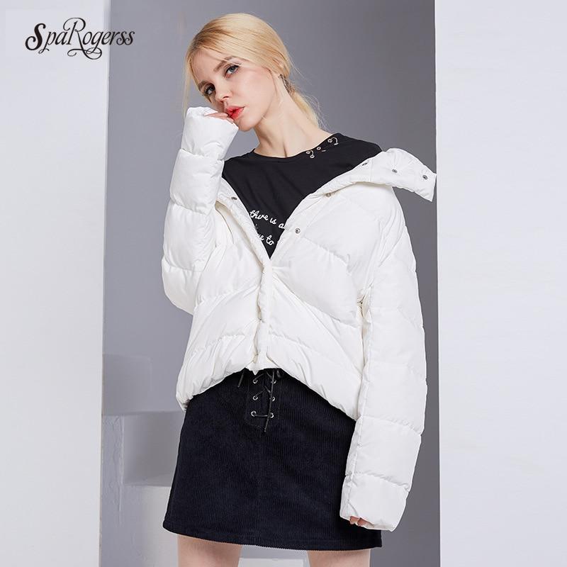 цены на SpaRogerss 2017 New Winter Jacket High-end Womens Quality White Coat Jacket Female Lady Tops Thickening Parkas Outwear DA85318 в интернет-магазинах
