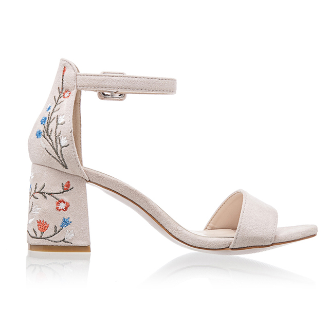 LALA IKAI Faux Suede Women Sandals Embroider High Heel Women Sandals Ethnic Floral Sandalias Muje Party Shoes XWF1160-5
