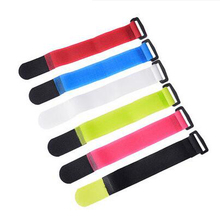 6pcs/lot 6 colors 200mm/300mm/400mm*25mm Nylon T type Eyelet Holes back to Velcro Cable Ties