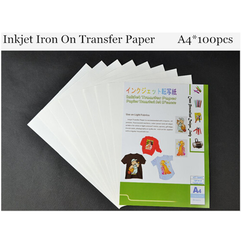 (A4*100pieces) Top Quality Inkjet Heat Iron On Transfer Printing Paper Iron-on Transfer Papel for Cotton T shirt HT-150EX