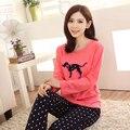 2016 New Autumn Women's Pyjamas Sets Girls' Cute Polka Dot Dog Printed Long-sleeve Tshirt And Trousers Sleepwear Free Shipping