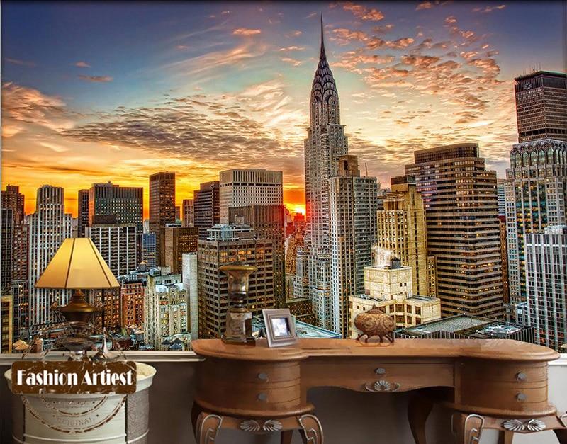 Custom 3d Wallpaper Mural New York Modern City Scenery Dawn Sunrise View Tv Sofa Bedroom Living