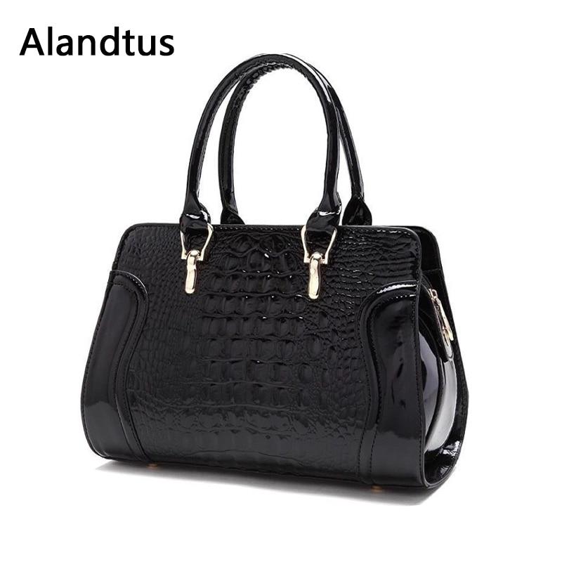 Alandtus Trendy Women Crocodile Pattern Handbag Casual Large Shoulder Bags Female Totes Bag Alligator Messenger Crossbody Bags