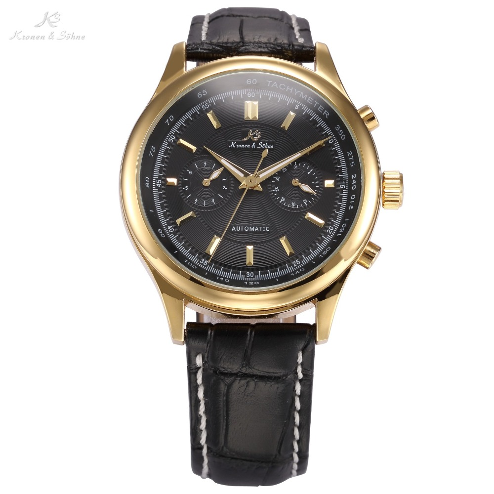 KS Luxury Brand Black Gold Relogio Auto Date Display Leather Strap Clock Automatic Self Wind Mechanical Mens Casual Watch /KS185 original binger mans automatic mechanical wrist watch date display watch self wind steel with gold wheel watches new luxury