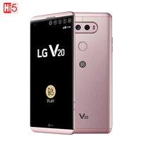 Разблокирована LG V20 мобильного телефона 4 ГБ Оперативная память 64 ГБ Встроенная память 4 ядра Snapdragon 820 5,7 ''16MP + 8MP Камера отпечатков пальцев 4 г