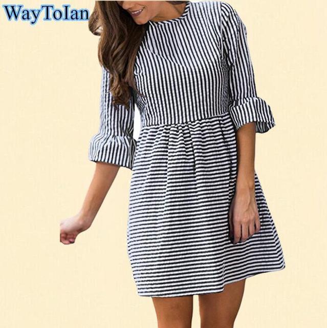 WayToIan 2018 Vestido Ocasional de Las Mujeres de Otoño de Rayas Blanco Y  Negro Mini Vestido 7daa7065b0b7