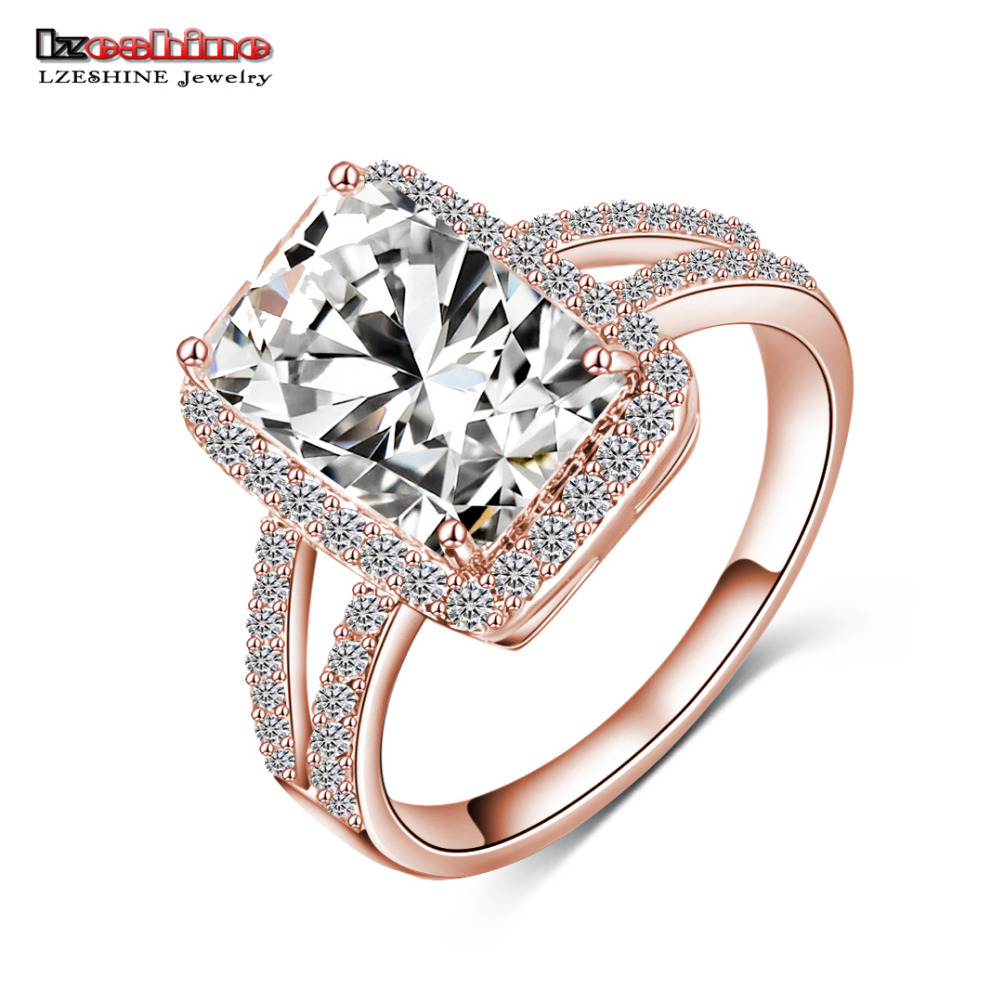 lzeshine brand big rectangle cut princess ring gold silver color clear aaa cubic zircon ring western style aneis cri0014 - Western Style Wedding Rings