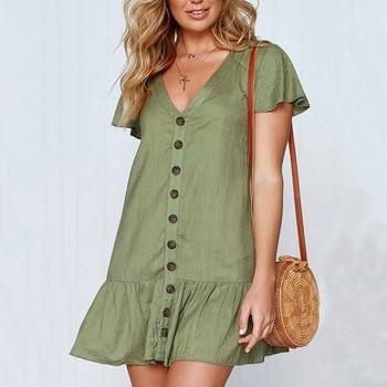 3e9520920a6c7ac Однотонное повседневное мини-платье, сексуальное с v-образным вырезом, с коротким  рукавом и оборками, пуговицы, женские 2018 новые летние плат.