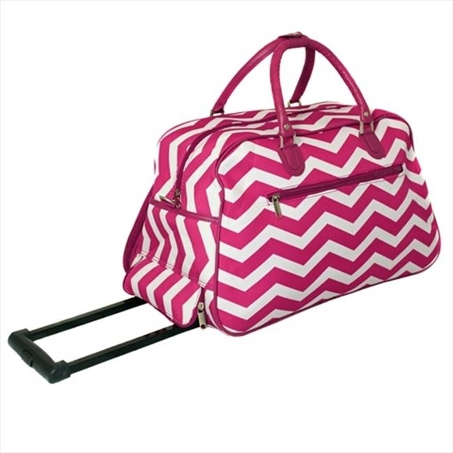 All-Seasons 8112022-165FW 21 in. ZigZag Collection Carry-On Rolling Duffel Bag Fuchsia White mydyicat 8 110cm