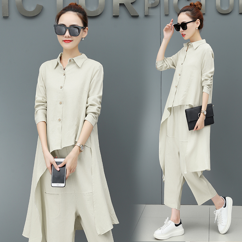 Pengpious autumn new women set cotton linen irregular cut long blouse with harem pants two pices