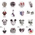 Free Shipping 1Pcs Big Hole Silver Beads Cute Mickey Charms Fits Diy Pandora Charms Bracelet Jewelry Wholesale Beads