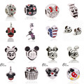 Frete Grátis 1 Pcs Grande Buraco Grânulos de Prata Bonito Mickey Encantos Encaixa Encantos de Pandora Pulseira Diy Contas de Jóias Por Atacado