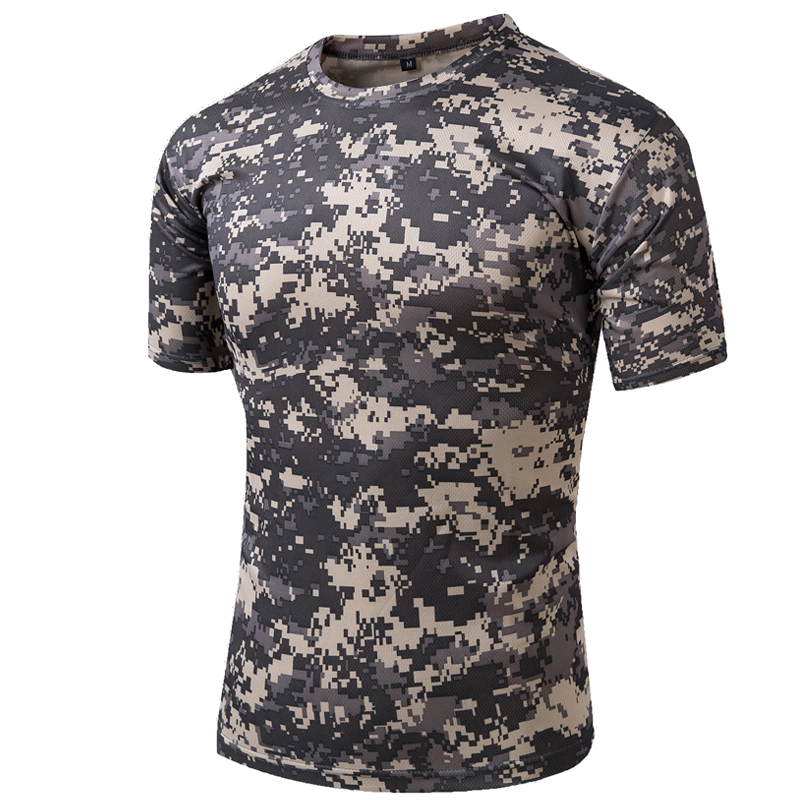 Tactical T-shirt Compress Quick Dry Camouflage Tee Shirts Mes