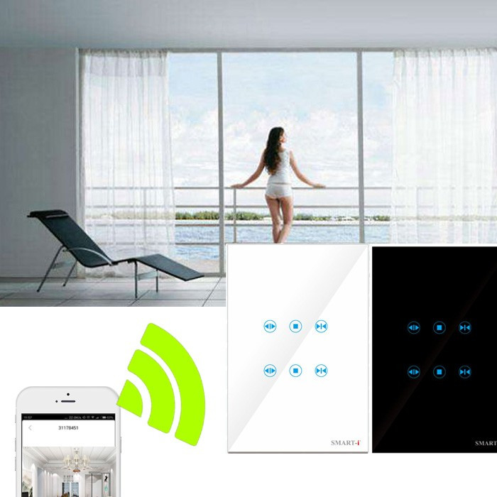 Metal-Bidirectional-IOS-Android-Wireless-Electrical-Curtains