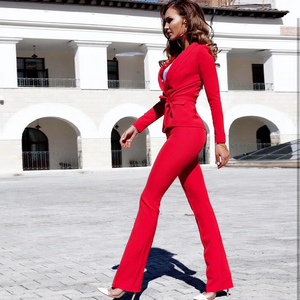 Image 3 - 2020 new fashion red white women set sexy long sleeved jacket & pants 2 pieces two piece casual party office pants suit set