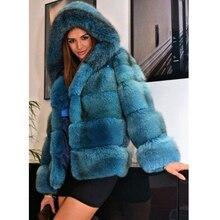 FURSARCAR Fashion Real Fur Coat Women Short Style Genuine Leather Fox High Quality Winter Warm With Hood