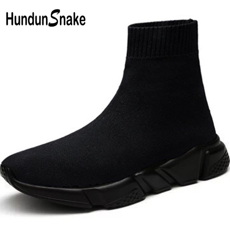 Hundunsnake High Top Sport Sneakers Woman Big Size Women's Running Shoes Men Sports Shoes Socks Female Black Scarpe Donna B-037