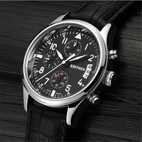2017 kinyued quartz watch clock famous brand luxury leather strap multifunctional waterproof luminous sports quartz watch