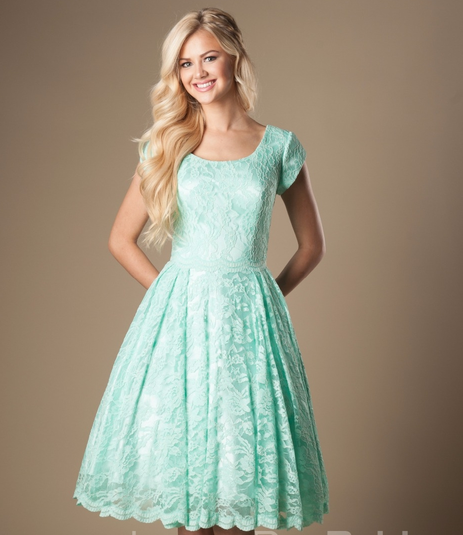 Mint Lace Short Modest   Bridesmaid     Dresses   2019 With Cap Sleeves A-line Knee Length Vintage Country   Bridesmaids     Dresses   Custom