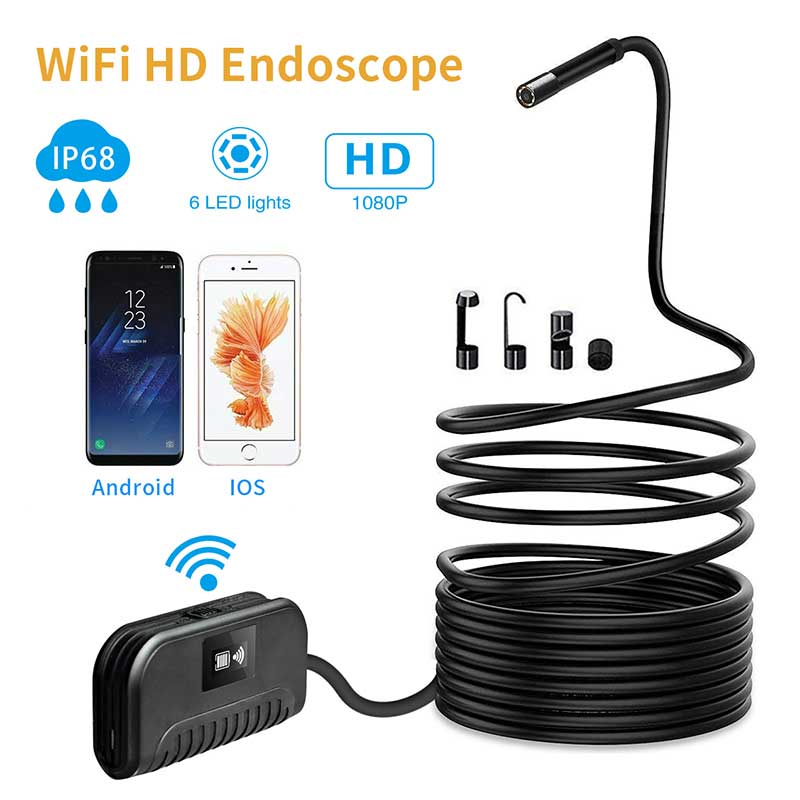 2.0 MP Wireless Endoscope WiFi Inspection Camera Semi-Rigid Flexible Snake Camera Waterproof for phone repair Pipeline inspect image