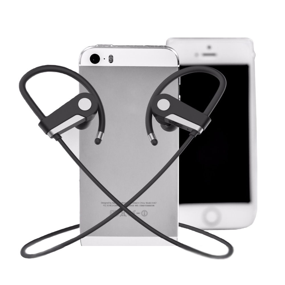 Stereo Music Handsfree Wireless Headphone with Microphone Ear Hook Sports Bluetooth Earphone for iPhone Mobile Phone stealth ear hook wireless stereo music bluetooth earphone handsfree headphone for iphone7 7s xiaomi for storm with mic