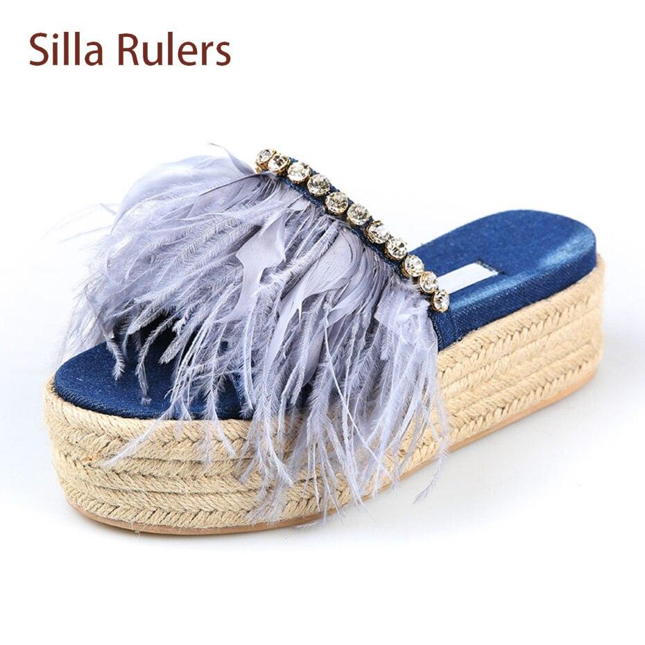 Silla Rulers rhinestone decor denim women slippers feather with crystal slip on slides hemp knit flat platform holiday sandals