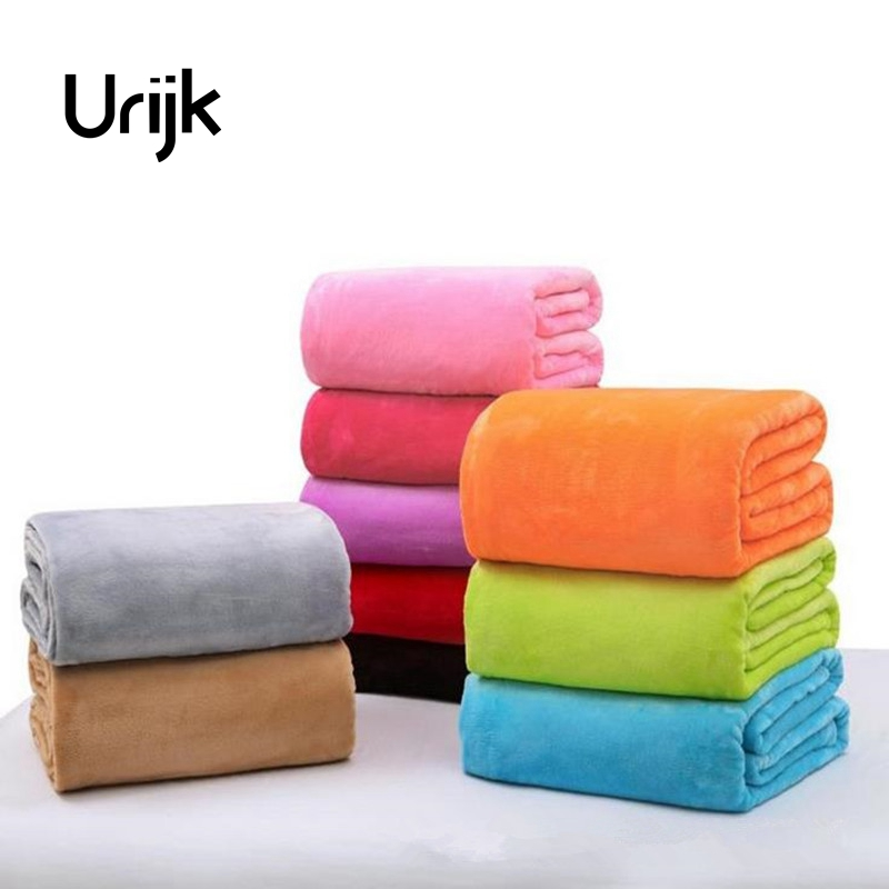 Urijk 1Pc Plaid Solid Sofa Cars Bedding Throws Flannel Blanket Beds Children Size Soft Winter Blanket Home Accessories Bedroom