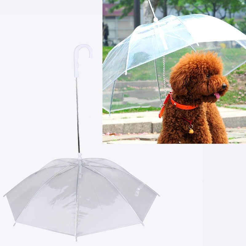 Plastik köpek şemsiye yağmurluk köpek Pet şemsiye yağmurluklar dişli köpek tasma kayışı tutar Pet kuru rahat yağmur kar yağışı
