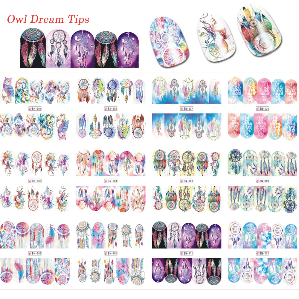 2019 NEW Designs Wind chime dream catcher Nail Art Water tatoo tools Decals Transfer Sticker Manicure Nail Decoration in Stickers Decals from Beauty Health