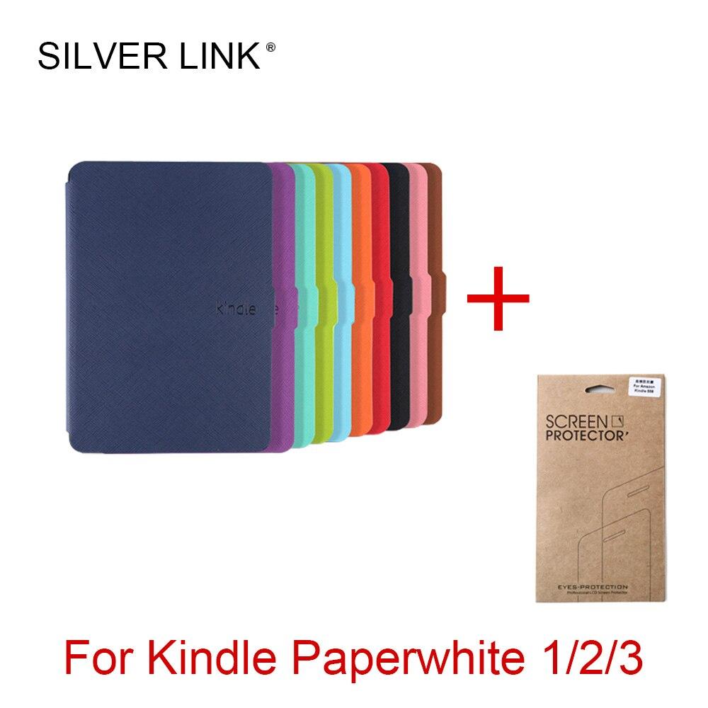 LIGAÇÃO DE PRATA Caso Inteligente Para Amazon Kindle Paperwhite Kindle E-leitor de Ebook Cover Auto Sleep/Wake Com Shell filme Protetor de tela